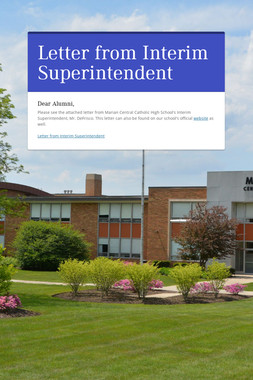 Letter from Interim Superintendent