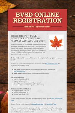 BVSD Online Registration