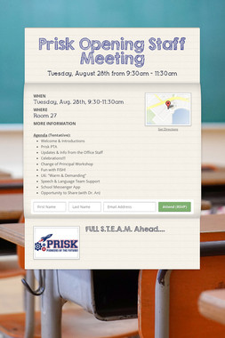 Prisk Opening Staff Meeting