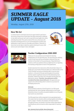 SUMMER EAGLE UPDATE - August 2018