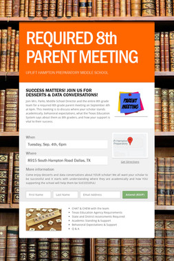 REQUIRED 8th PARENT MEETING