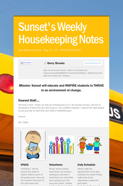 Sunset's Weekly Housekeeping Notes