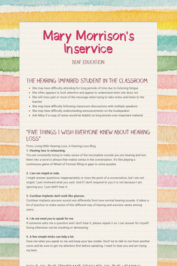 Mary Morrison's Inservice