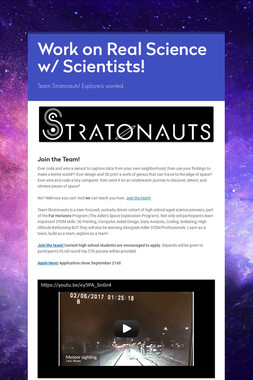 Work on Real Science w/ Scientists!