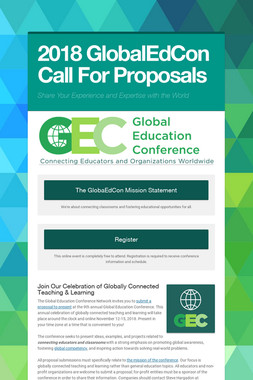 2018 GlobalEdCon Call For Proposals