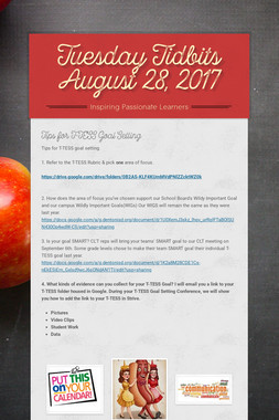 Tuesday Tidbits August 28, 2017