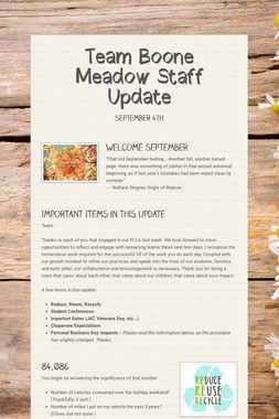 Team Boone Meadow Staff Update