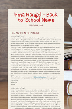 Irma Rangel -  Back to School News