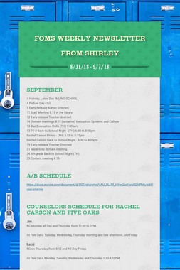 FOMS Weekly Newsletter from Shirley