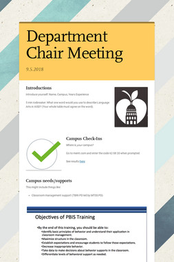 Department Chair Meeting