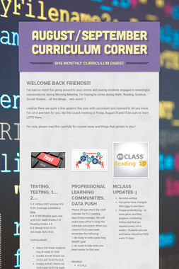 August/September Curriculum Corner