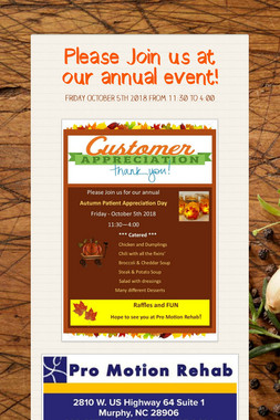 Please Join us at our annual event!