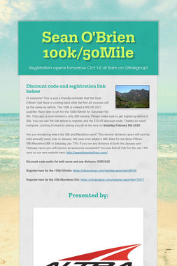 Sean O'Brien 100k/50Mile/50K