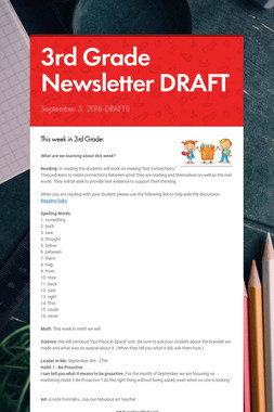 3rd Grade Newsletter DRAFT
