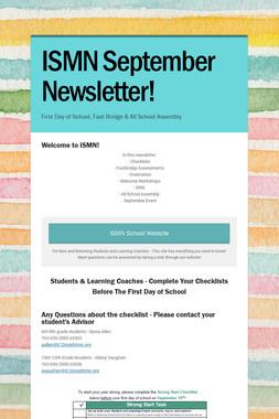 ISMN September Newsletter!
