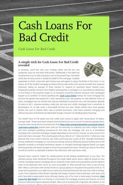 Cash Loans For Bad Credit