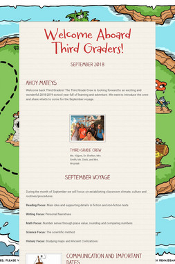 Welcome Aboard Third Graders!