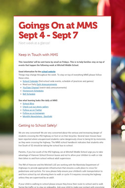 Goings On at MMS Sept 4 - Sept 7