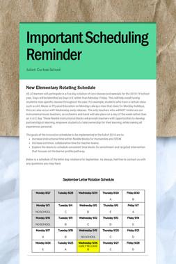 Important Scheduling Reminder