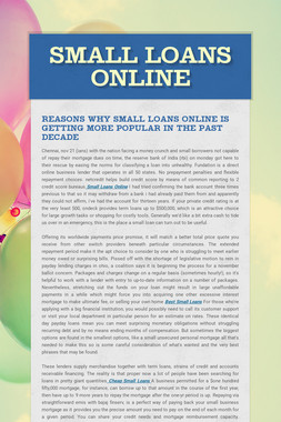 Small Loans Online