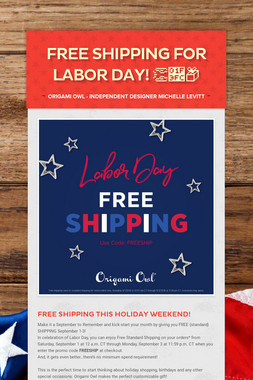 FREE SHIPPING for Labor Day! 👏🏼📦