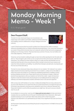 Monday Morning Memo - Week 1