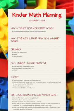 Kinder Math Planning