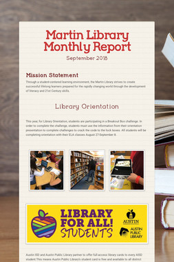 Martin Library Monthly Report