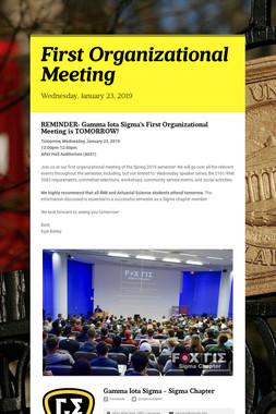 First Organizational Meeting
