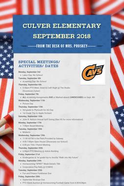 Culver Elementary September 2018