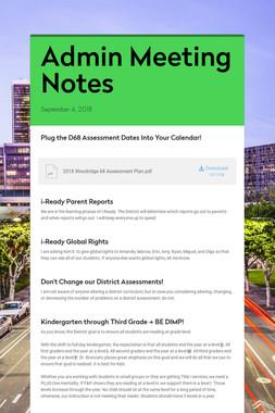 Admin Meeting Notes