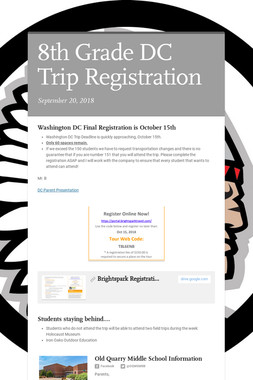 8th Grade DC Trip Registration