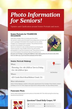 Photo Information for Seniors!