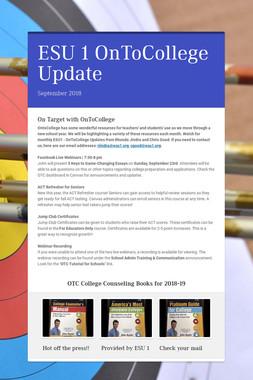 ESU 1 OnToCollege Update