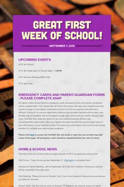 Great first week of school!