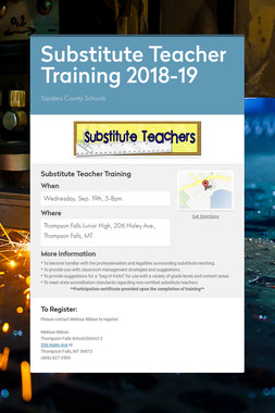 Substitute Teacher Training 2018-19