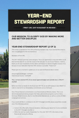 YEAR-END STEWARDSHIP REPORT