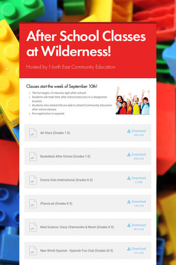 After School Classes at Wilderness!