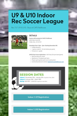 U9 & U10 Indoor Rec Soccer League