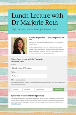 Lunch Lecture with Dr Marjorie Roth