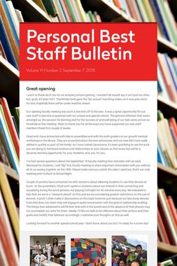 Personal Best Staff Bulletin