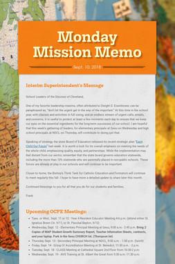 Monday Mission Memo