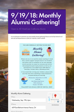 9/19/18: Monthly Alumni Gathering!