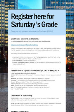 Register here for Saturday's Grade