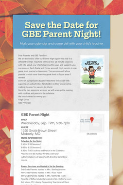 Save the Date for GBE Parent Night!