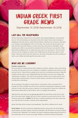 Indian Creek First Grade News