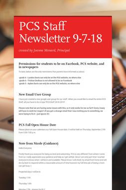 PCS Staff Newsletter 9-7-18