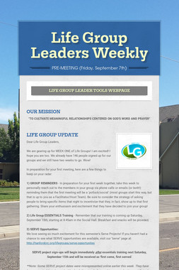 Life Group Leaders Weekly