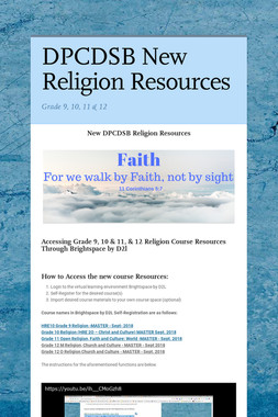 DPCDSB New Religion Resources