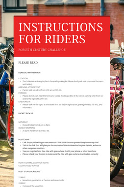 INSTRUCTIONS FOR RIDERS